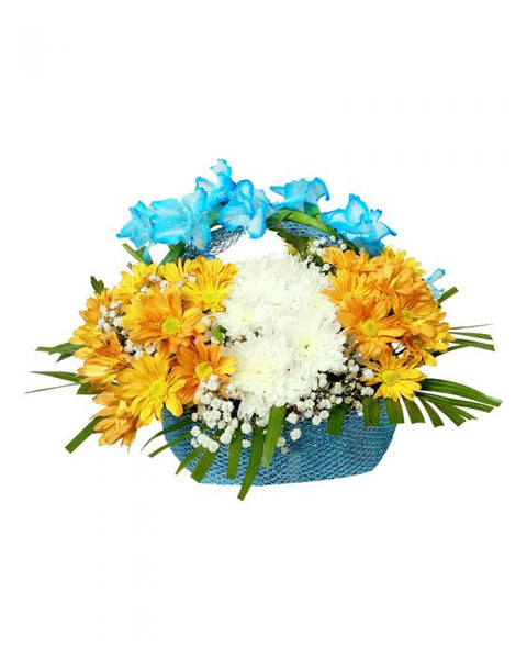 Baby Boy Imported Flower Basket - TCS Sentiments Express