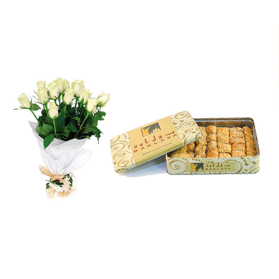 Baklava with White Rose Bouquet - TCS Sentiments Express
