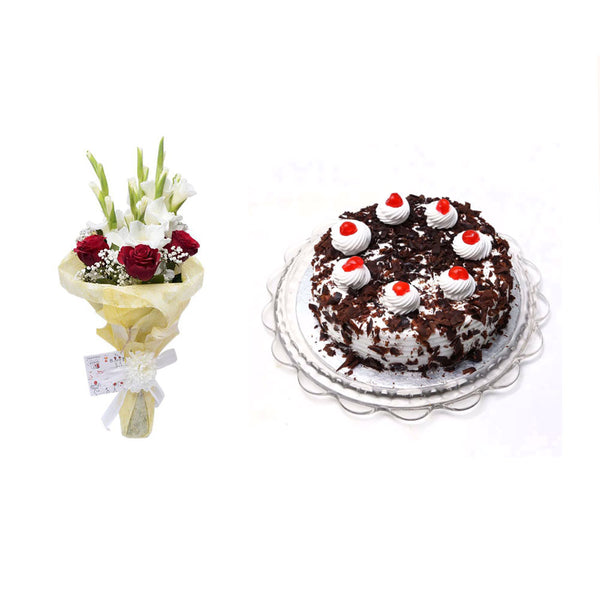 Black Forest Cake 1LBS with Lavish Bouquet - TCS Sentiments Express