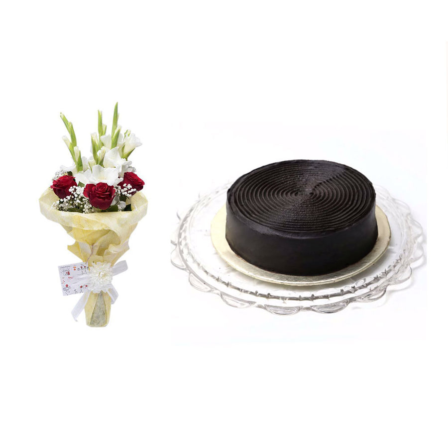 Chocolate Fudge Cake 1LBS with Lavish Bouquet - TCS Sentiments Express
