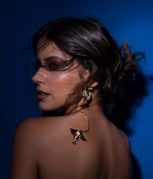 flying fish_ necklace_ brass_ yellow_gold 18kts jewelry |Elba