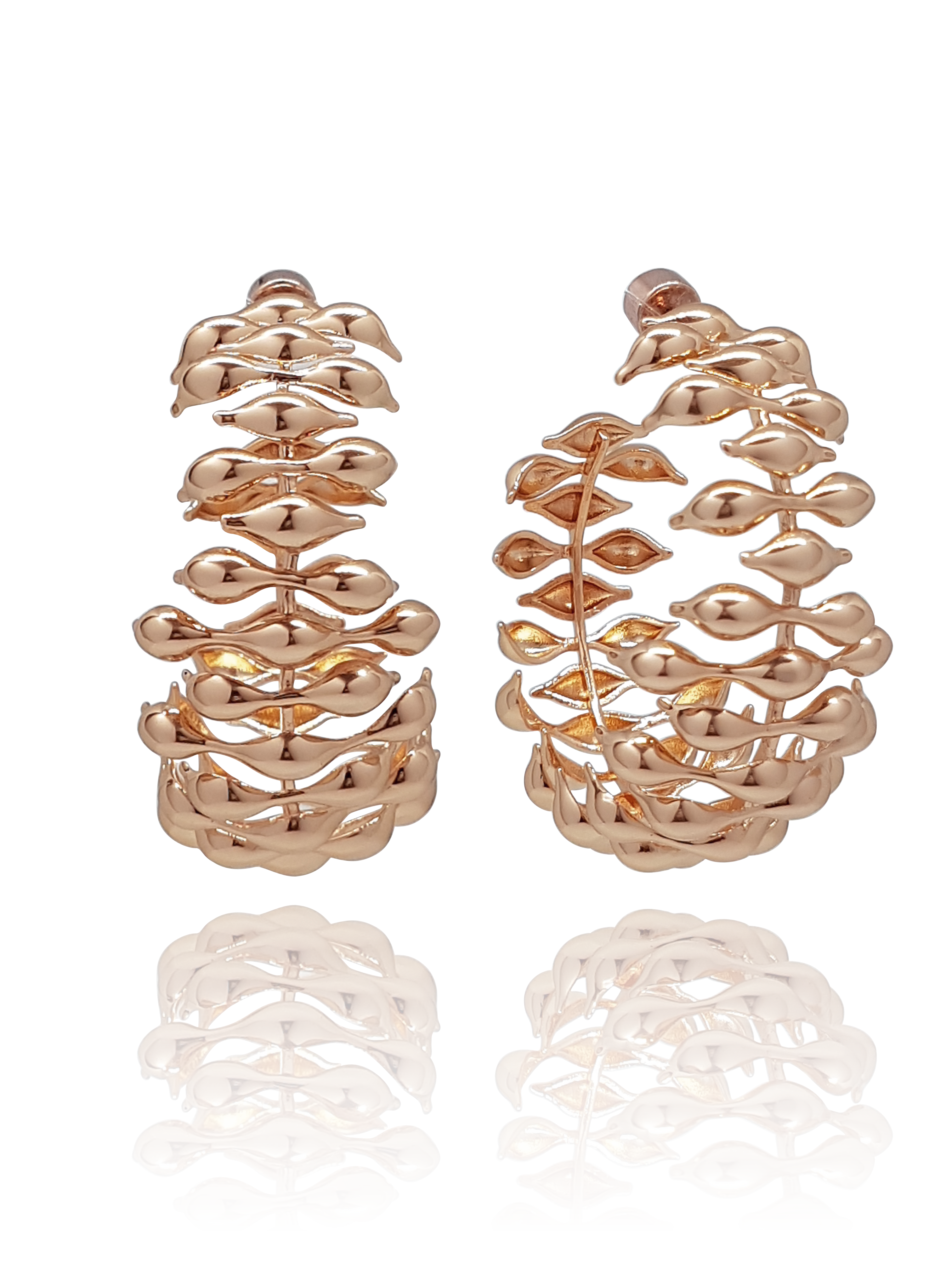 hoops_earring_waves_big_maré_brass_rose_gold_18kts jewelry |Elba