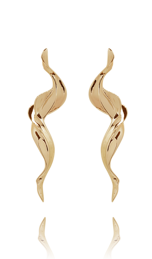 earring_flame brass yellow gold 18kts jewelry |Elba