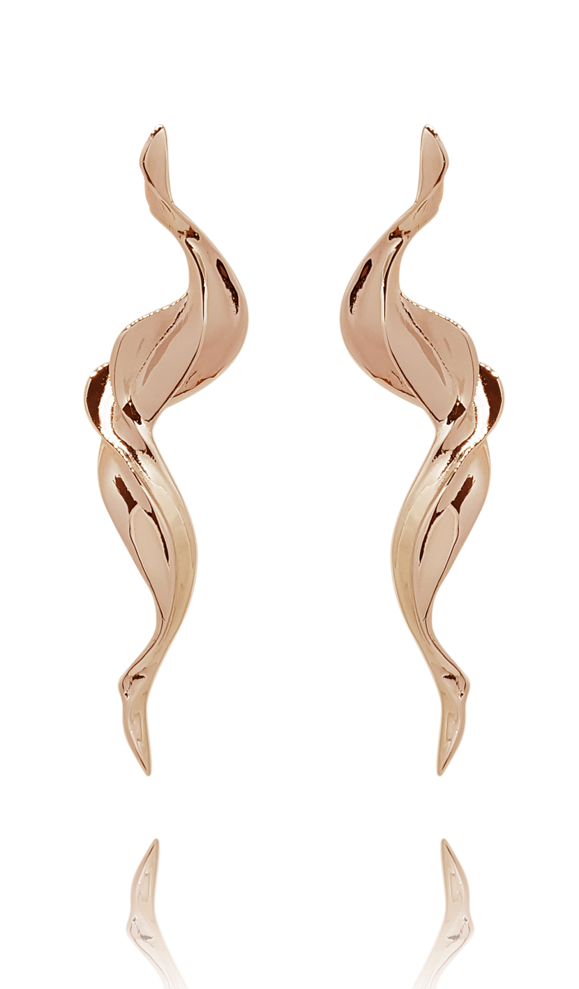 earring_flame brass rose gold 18kts jewelry |Elba
