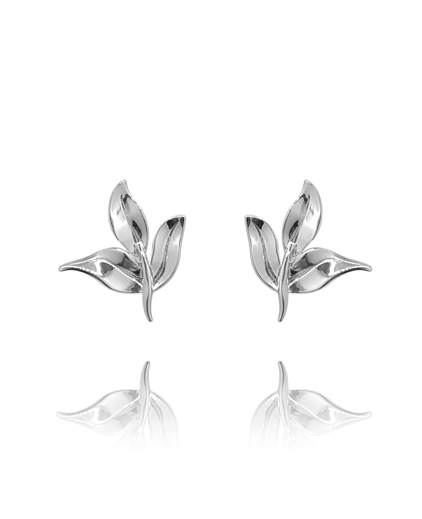 earring_leaf_silver_white_gold_18kts jewelry |Elba