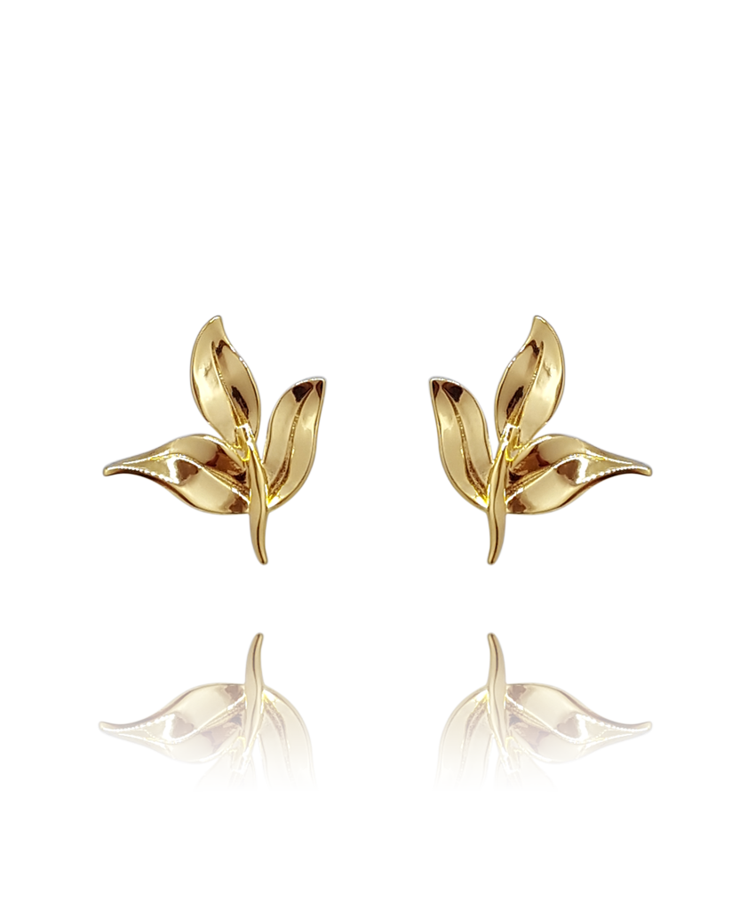 earring_leaf_brass_yellow_gold_ 18kts jewelry |Elba