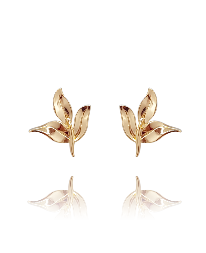 earring_leaf_brass_rose_gold_18kts jewelry |Elba