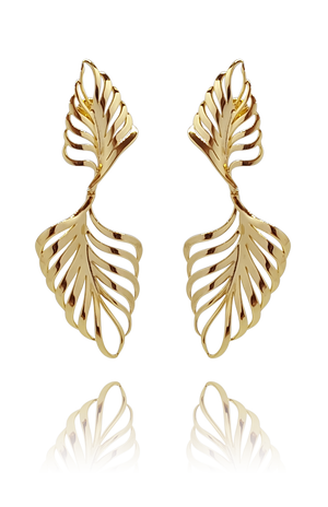 earring_palmeira_palm tree_brass_yellow_gold_18kts jewelry |Elba
