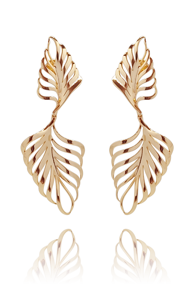 earring_palmeira_palm tree_brass_rose_gold_18kts jewelry |Elba