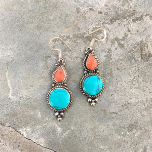 """Pema"" Turqouise earrings - Tibet"