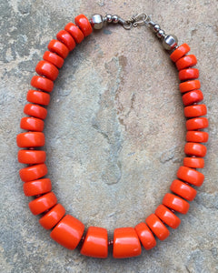 """Ishita"" Firey orange Copal necklace - India"