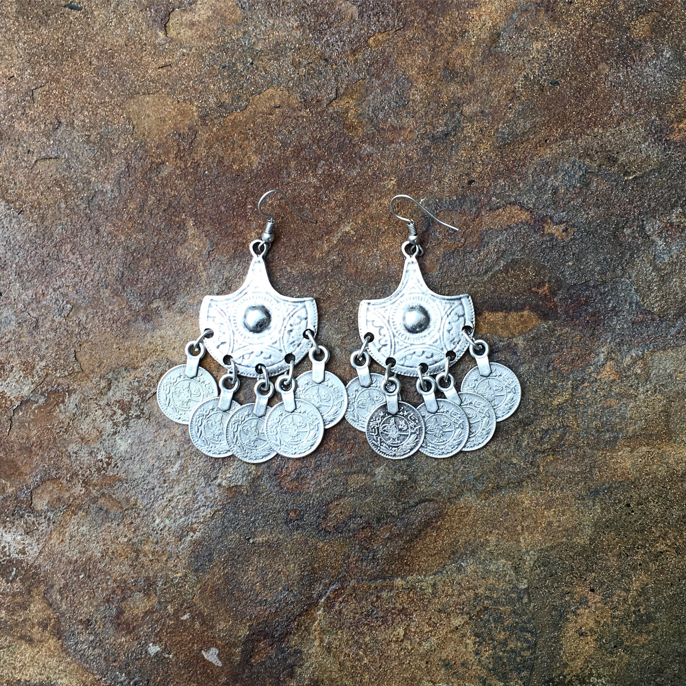 """Hira Nur"" coins silver earrings - Turkey"