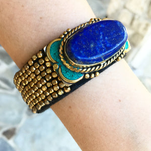 """Kavya"" bronze beads blue eye bracelet - India"