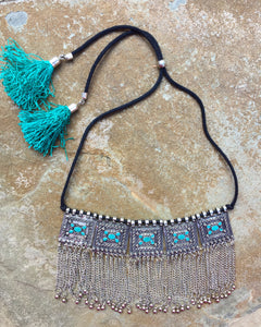 """Amaira"" Blue tassel & silver necklace - India"