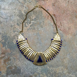 """Arie"" Cleopatra royal blue & gold necklace - India"
