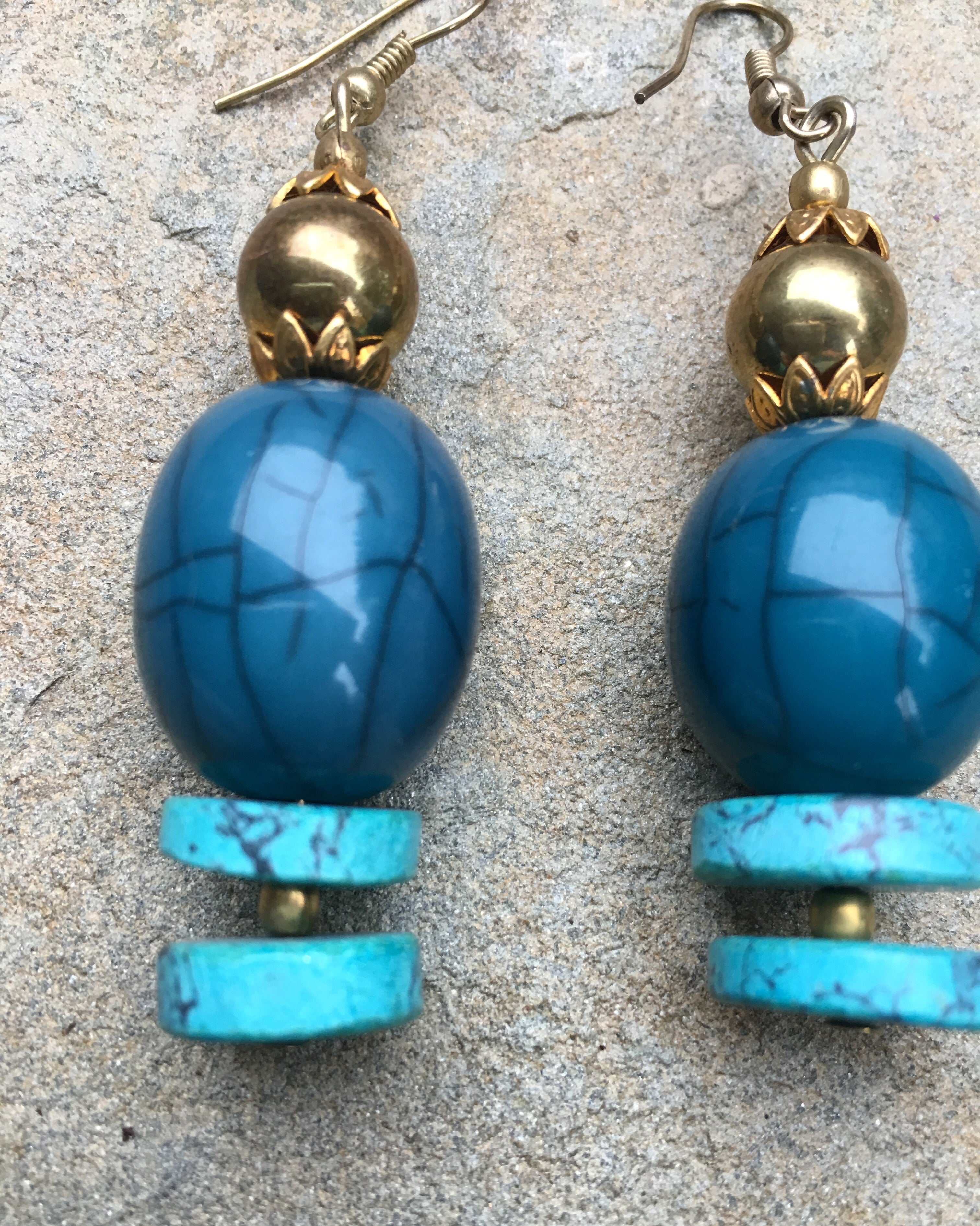 """Nandani"" blue bronze earrings - India"