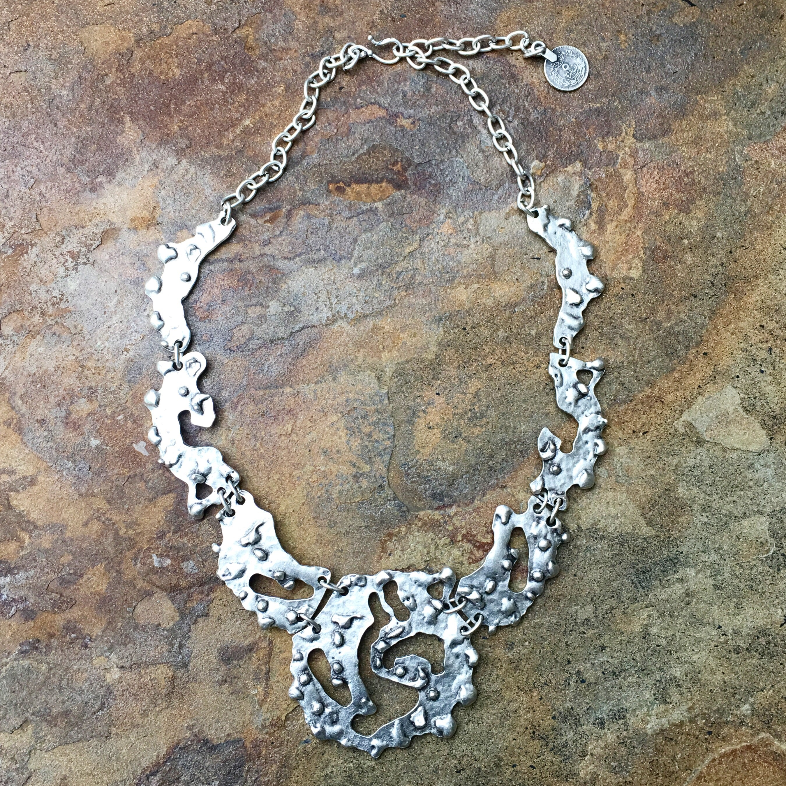"""Busra"" rocky silver necklace - Turkey"