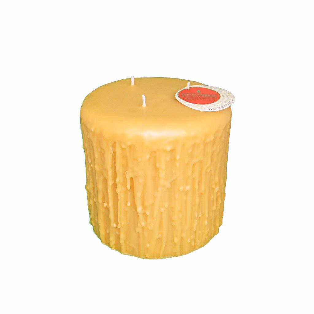 unique three wicked heritage dripped pillar beeswax candle