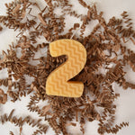 golden yellow beeswax number two number birthday candle