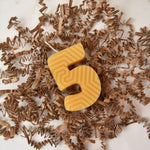 yellow pure local beeswax number five birthday candle