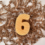 Yellow beeswax number six birthday number candle