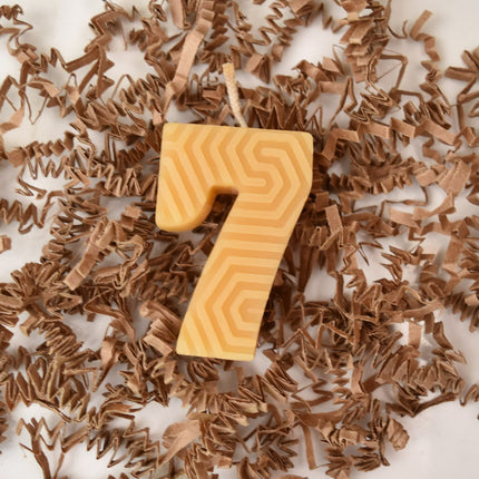 golden yellow beeswax number seven number birthday candle