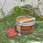 Emergency tin beeswax candle with matches and metal cooking straps