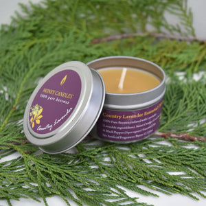Country lavender essential oil infused beeswax candle in a handy travel tin