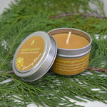 Flower bloom essential oil infused yellow beeswax silver tin candle