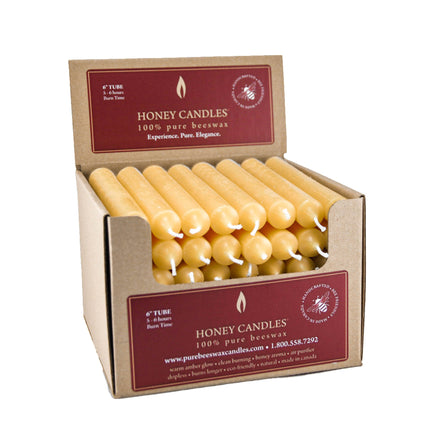 6 Inch Natural Tube Beeswax Candles
