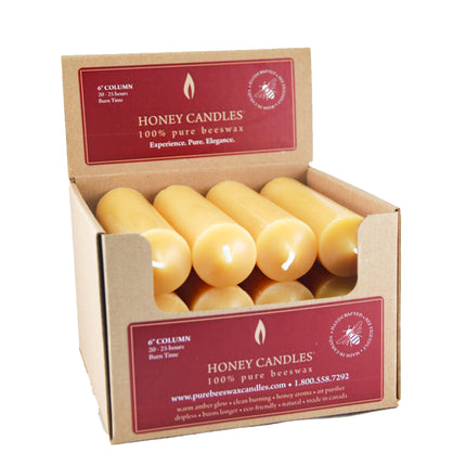 6 Inch Natural Column Beeswax Candles