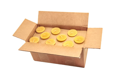 case of 36 beeswax votive candles, natural color