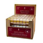 bulk box filled with bonus roll of natural beeswax candles in clear cup