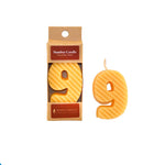 Number 9 Beeswax Candle