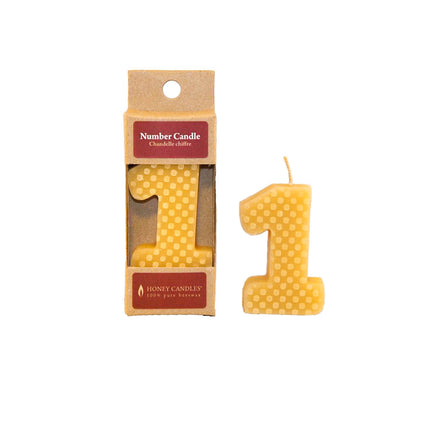 Number 1 Beeswax Candle