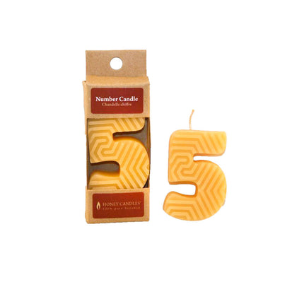 Number 5 Beeswax Candle