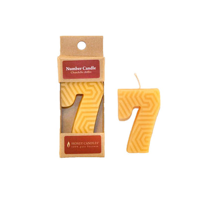 Number 7 Beeswax Candle