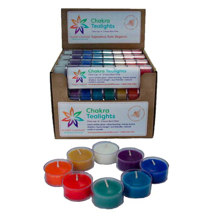 bulk box of multiple rolls of chakra tealight candle rolls