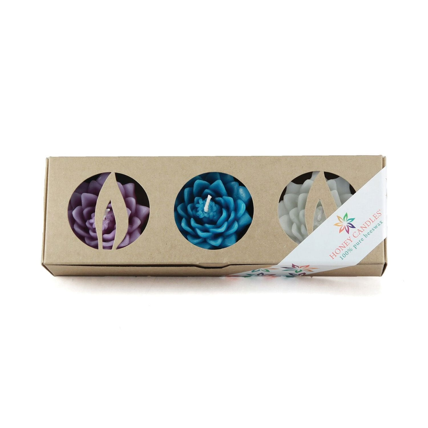 Three pack of floating lotus candle in vibrant colors
