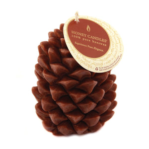 unique beeswax pine cone candle in dark brown