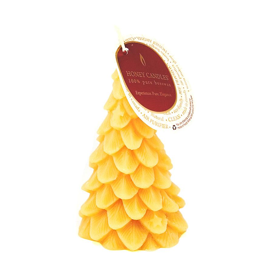 festival tree shaped beeswax candle in natural colour