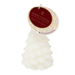 yule tree beeswax candle in white