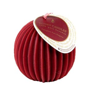 burgundy fluted sphere beeswax candle