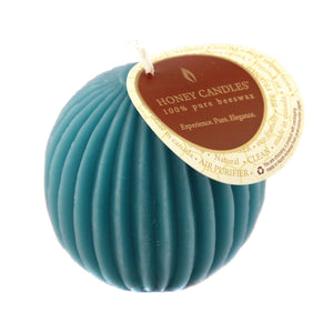 teal coloured fluted sphere beeswax candle