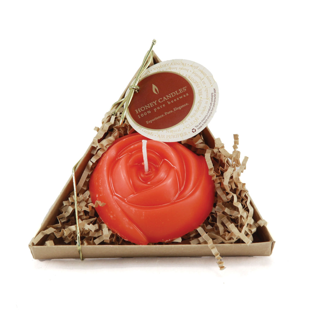 Red Rose Packaged Beeswax Candle