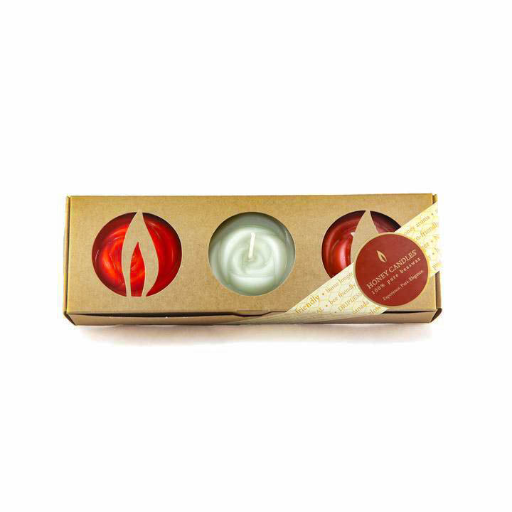 gift box of three rose shaped beeswax candles for any occasion