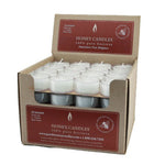 cute bulk recyclable package of white tealight beeswax candles in clear cups