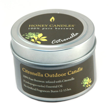 beeswax candle in metal tin infused with Citronella essential oils