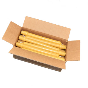 Case of twenty four, beeswax, formal candles, in a recyclable cardboard box.