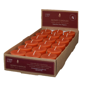 case of 18 bees wax votive candles, tangerine in color